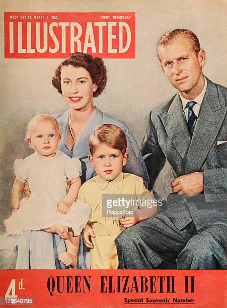 The front cover of the 'Illustrated' magazine featuring Queen Elizabeth II and her family at the time of her succession to the throne circa February...