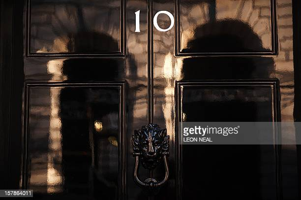 The front door of 10 Downing Street is pictured in London on May 5 2010 Party leaders crisscrossed Britain in a frantic final day of election...