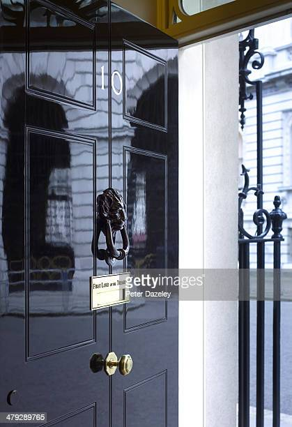 The front door of No 10 Downing Street the official residence of the British Prime Minister