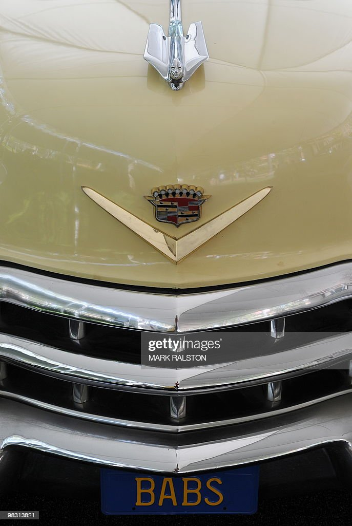 The front end of a 1950's Cadillac convertible on display at the Cartopia exhibition celebrating Southern California's early car culture at the USC campus in Los Angeles on April 7, 2010. The display of historic automobiles and vintage hot rods from the golden era of California car culture -demonstrate the utopian aspirations and dreams in 1950s and '60s automotive design and youth car-mod subcultures. AFP PHOTO/Mark RALSTON