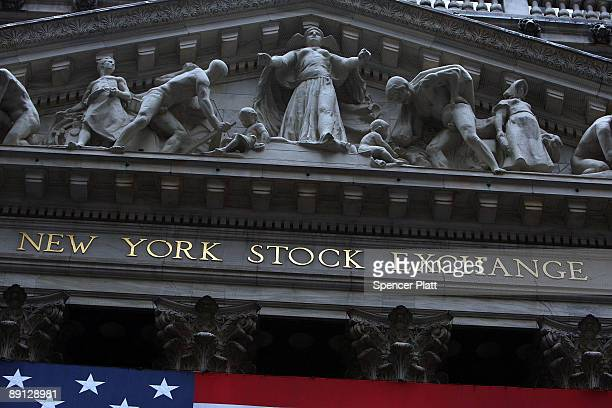 The front facade of the New York Stock Exchange on July 21 2009 in New York City Federal Reserve Chairman Ben Bernanke appearing before the House...
