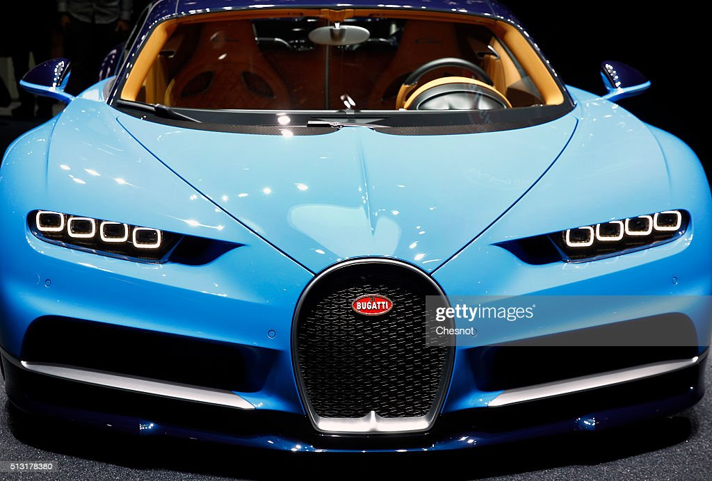 The front frill of the Bugatti Chiron model is displayed during the press day of the 86th Geneva International Motor Show on March 1 2016 in Geneva...