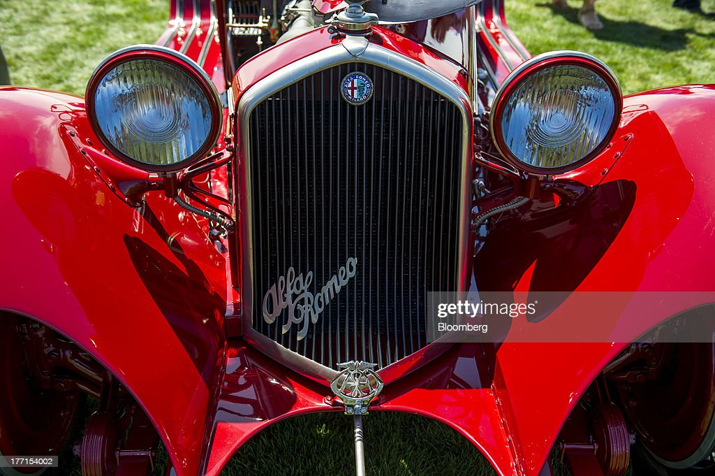 The front grill of a 1932 Alfa Romeo 8C 2300 Touring Spider is displayed during the 2013 Pebble Beach Concours d' Elegance in Pebble Beach, California, U.S., on Sunday, Aug. 18, 2013. The annual event in its 63rd year raised $1.277 million U.S. dollars for charity and showcased 248 cars, 48 from abroad. Photographer: David Paul Morris/Bloomberg via Getty Images