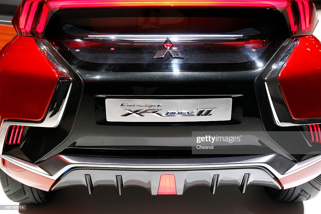 The front grill of a Mitsubishi concept car XR phev II is presented during the press day for the 85th Geneva International Motor Show on March 3 2015...