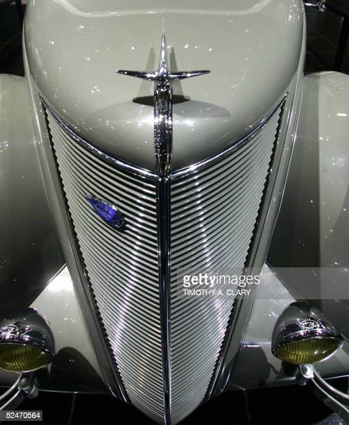 The front grill of a vintage Lincoln Zephyr is seen during the 2005 New York Auto Show at the Jacob Javits Convention Center in New York City 23...