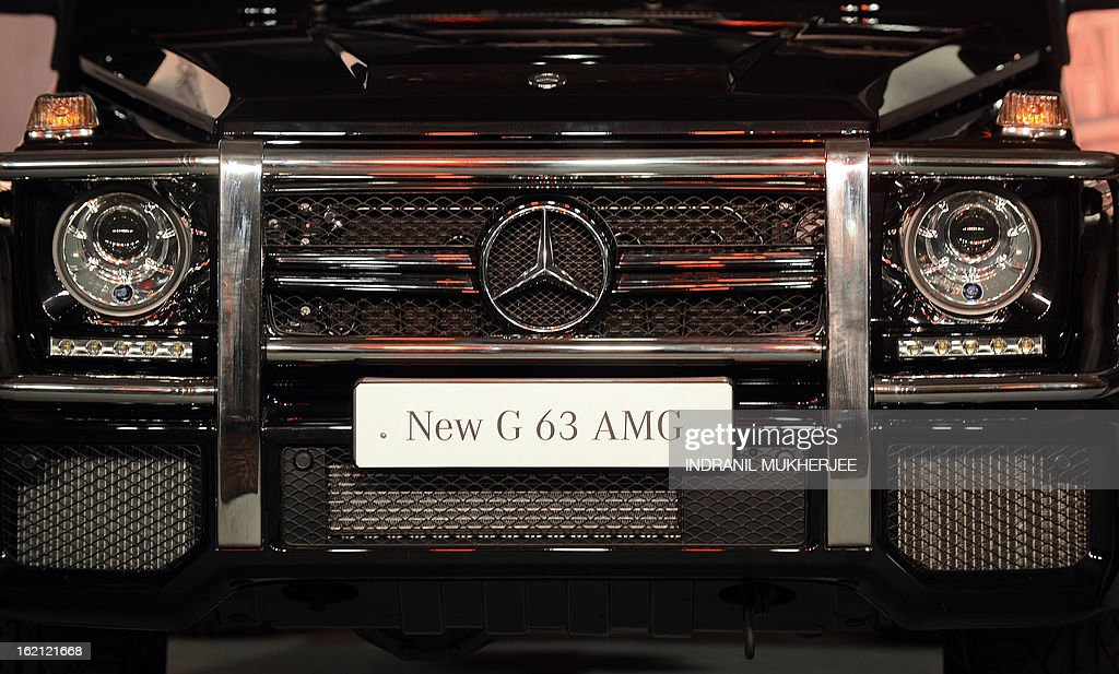 The front grill of the new Mercedes-Benz G63 AMG premium sports utility vehicle (SUV) is pictured in Mumbai on February 19, 2013. The G 63 AMG sports a supercharged 5.5-litre V8-engine delivering 400 kw@5500rpm; 760 nm of torque @5000 rpm; 0-100 in 5.4s. AFP PHOTO/Indranil MUKHERJEE