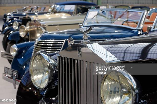 The front grille of a RollsRoyce model is displayed during a press preview before a mass auction of vintage vehicles organised by Bonhams auction...