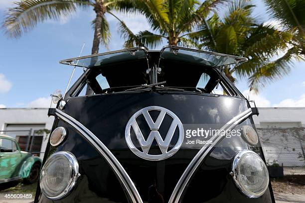 The front of a 1955 Volkswagen OvalWindow bus is seen at McNab Foreign Car garage that specializes in restoring VW vehicles on December 12 2013 in...