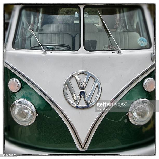 The front of a 1965 first generation or T1 splitscreen Volkswagen Transporter van is seen on August 4 2014 in Exeter England The van which is...