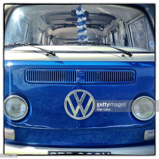 The front of a 1971 second generation or T2 bay window Volkswagen Transporter van is seen on August 8 2014 in Cornwall England The Volkswagen...