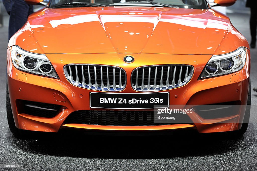 The front of a Bayerische Motoren Werke AG (BMW) Z4 sDrive 35is convertible vehicle is seen during the 2013 North American International Auto Show (NAIAS) in Detroit, Michigan, U.S., on Tuesday, Jan. 15, 2013. The Detroit auto show runs through Jan. 27 and will display over 500 vehicles, representing the most innovative designs in the world. Photographer: David Paul Morris/Bloomberg via Getty Images