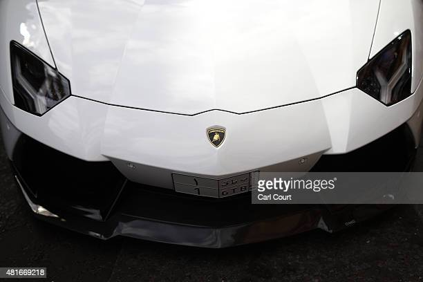 The front of a Saudi Arabian registered Lamborghini is pictured on July 21 2015 in Knightsbridge in London England Knightsbridge has become known in...