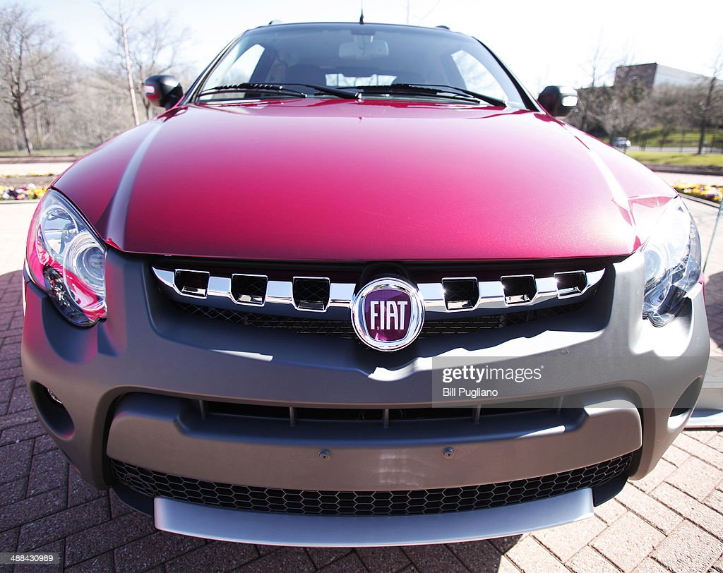 The front of an FCA Fiat Strada Double Cab distorted by a wide angle lens is shown outside the Chrysler Group complex May 6 2014 in Auburn Hills...