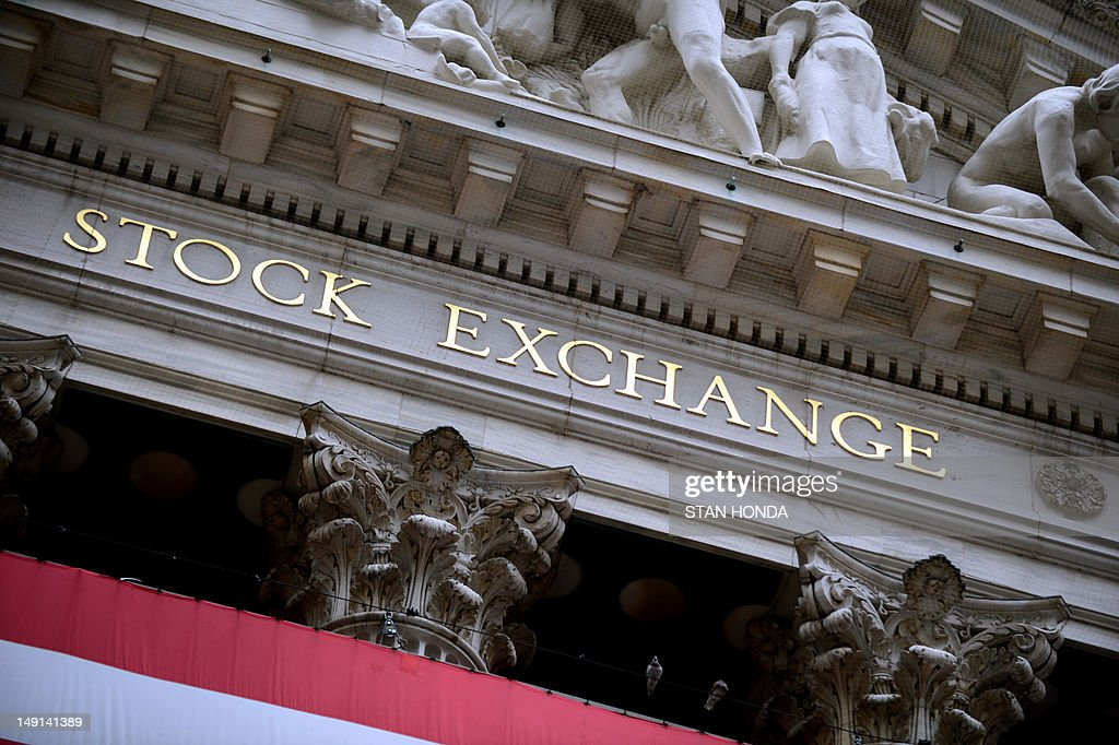 The front of the New York Stock Exchange is seen on July 23 2012 US stocks skidded amid a global selloff on renewed eurozone sovereign debt concerns...