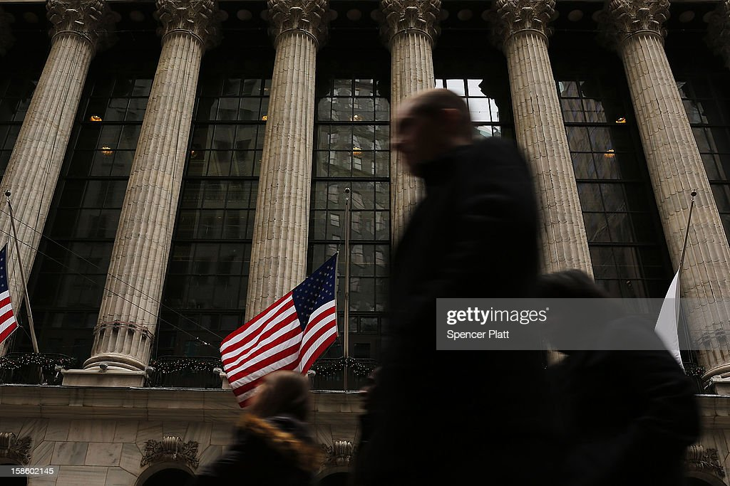 The front of the New York Stock Exchange (NYSE) is viewed on December 20, 2012 in New York City. Founded in 1817, New York Stock Exchange has agreed to an $8.2 billion takeover from IntercontinentalExchange (ICE). NYSE Euronext, the stock exchange's holding company, has agreed to an offer of $33.12 a share in cash and stock from the Atlanta-based energy trader.