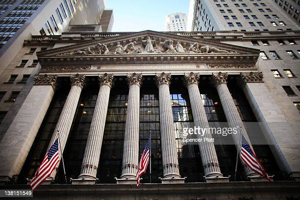 The front of the New York Stock Exchange is viewed on February 3 2012 in New York City Following a positive report on US employment numbers the Dow...
