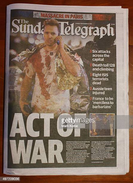 The front page of Sydney newspaper The Sunday Telegraph is seen on on November 15 2015 in Sydney Australia More than 120 people were killed and over...