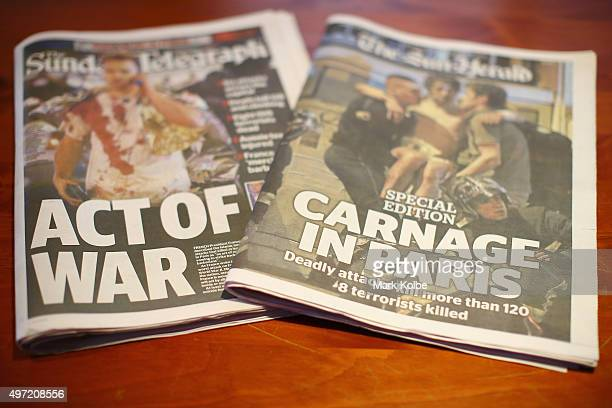 The front page of Sydney newspapers The SunHerald and The Sunday Telegraph are seen on on November 15 2015 in Sydney Australia More than 120 people...