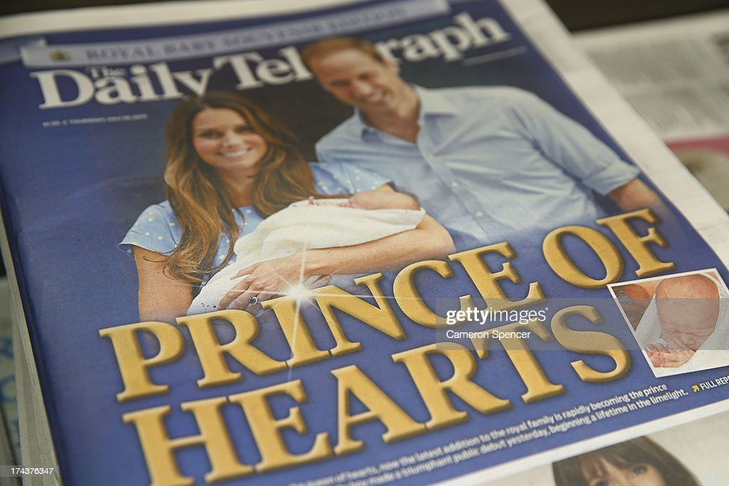 The front page of the Daily Telegraph is displayed announcing 'The Birth Of The Duke And Duchess Of Cambridge's New Son' at a newsagent on July 25, 2013 in Sydney, Australia. The Duchess of Cambridge gave birth to a boy on July 22 at 16.24 BST and weighing 8 lb 6oz, with Prince William at her side.