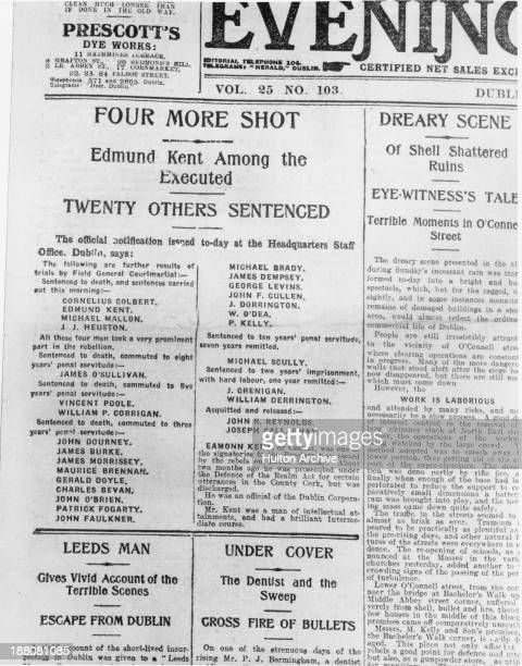 The front page of the Evening Herald newspaper published following the Easter Rising in Dublin 8th May 1916 The main article is headlined 'Four More...