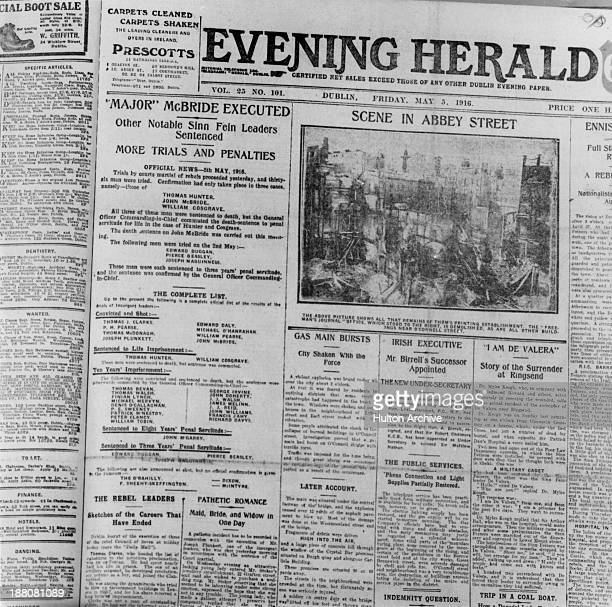 The front page of the Evening Herald newspaper published following the Easter Rising in Dublin 5th May 1916 The column on the left notes the...