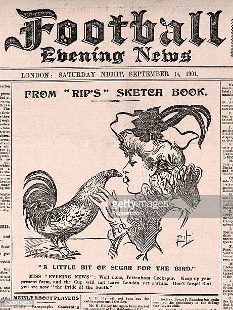 The front page of the Football Evening News featuring a Tottenham Hotspur 'Rip' cartoon titled 'A Little Bit of Sugar for the Bird' the 'Bird'...