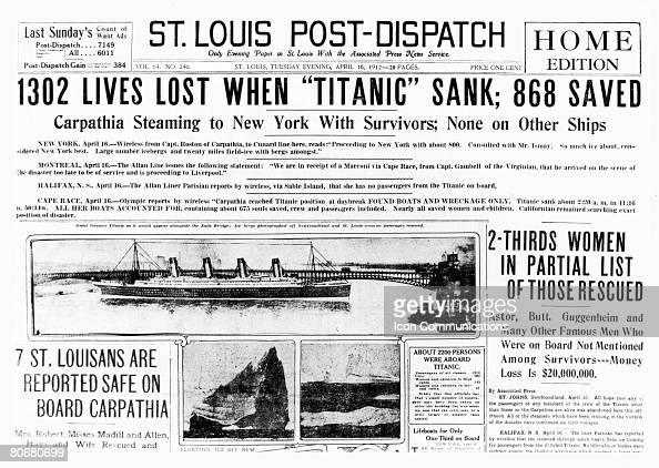 The front page of the StLouis PostDispatch of 16th April 1912 featuring several reports on the loss of the liner Titanic which had sunk off...