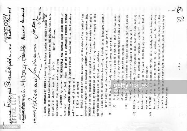 The front page of the will of Diana Princess of Wales which was published today by lawyers Lawrence Graham who are acting for the executors of her...