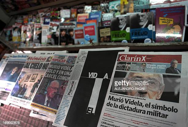 The front pages of major newspapers in Argentina reflect the news of the death of former Argentine dictator Jorge Rafael Videla in Buenos Aires on...
