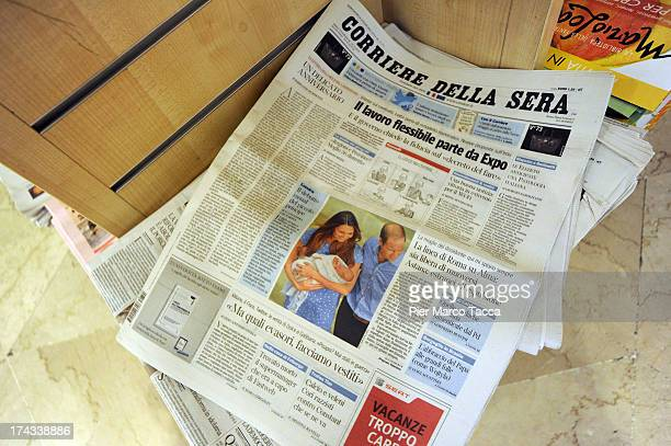The front pages of newspapers on sale at a newstand feature photographs of Prince William Duke of Cambridge and Catherine Duchess of Cambridge...