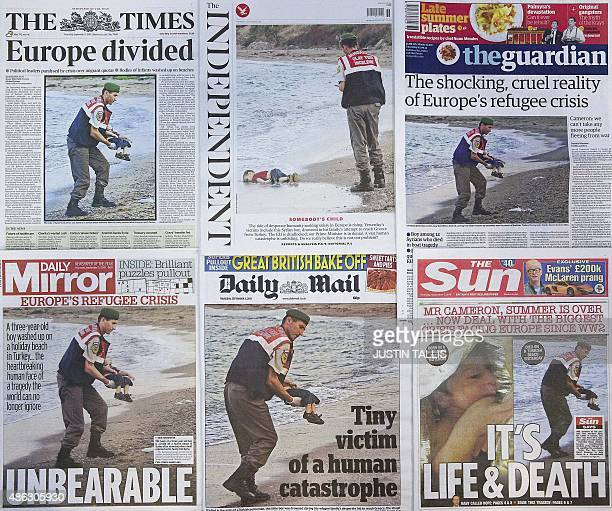 The front pages of some of Britain's daily newspapers showing an image of the body of Syrian threeyearold boy Aylan are pictured in London on...