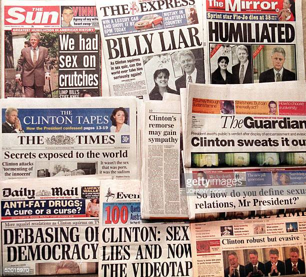 The front pages of the London national press shot 22 September after the release by Congress of more than four hours of testimony given by Clinton...