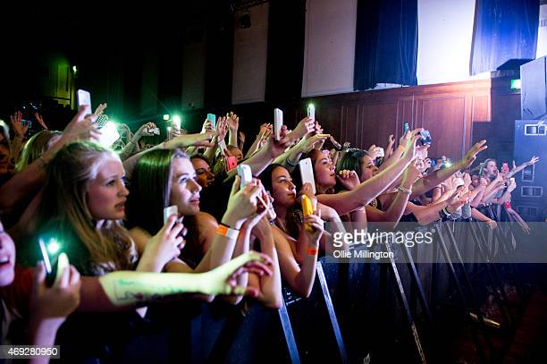 The front row watch on as Bars And Melody perform on stage during their totally sold out debut UK Tour at O2 Academy Leicester on April 10 2015 in...