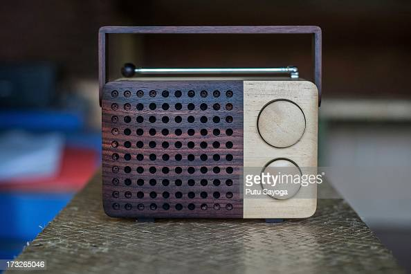 The front view of the wooden radio is seen on display at the Piranti Works workshop on July 11 2013 in Temanggung Central Java Indonesia Radio Magno...
