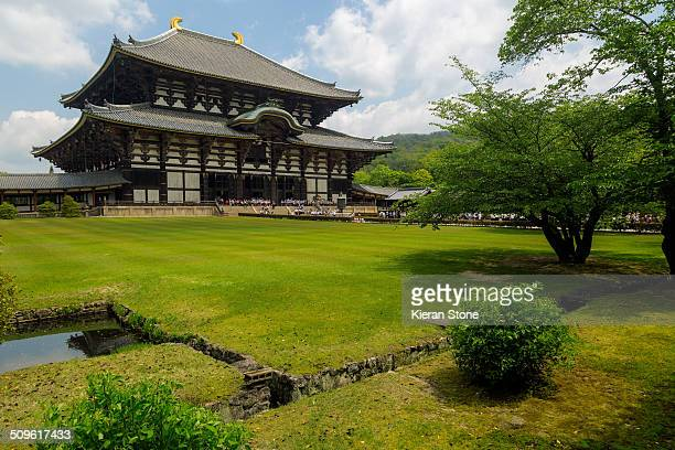 The frount of Todaiji temple with garden view Nara Japan