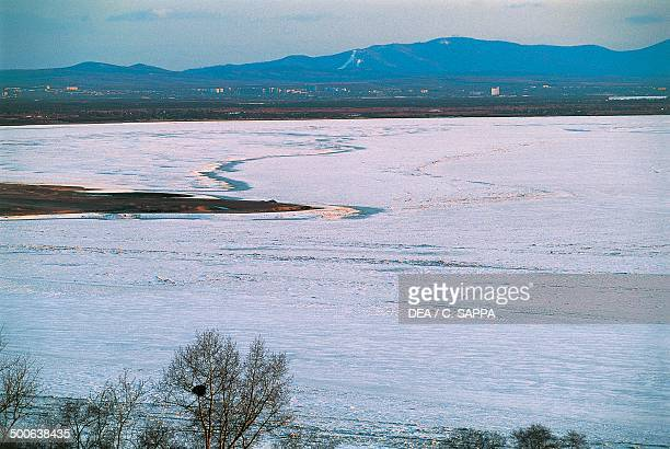 The frozen Amur river near the city of Khabarovsk Siberia Russia