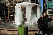 The frozen fountain at Bryant Park in Manhattan is viewed on a bitterly cold day on February 13 2015 in New York City In New York wind chill values...