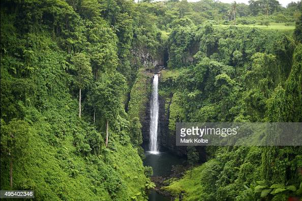 The Fuipisia Falls are seen on September 12 2015 in Lotofaga Samoa The 55 meter high Fuipisia Falls are located in the village of Lotofaga on the...