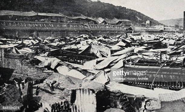 The Fuji cotton spinning mills plant at Koyama near Fuji in Japan collapsed like a pack of cards in the great Japanese earthquake of September 1923