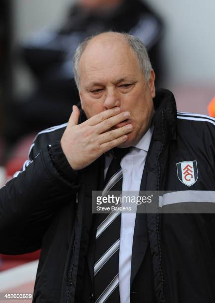 The Fulham Manager Martin Jol before the Barclays Premier League match between West Ham United and Fulham at Boleyn Ground on November 30 2013 in...