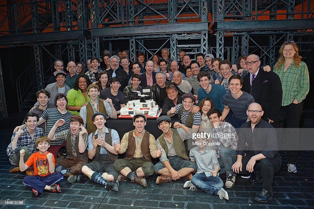 The full cast and crew of 'Newsies' poses for a picture at 'Newsies' Broadway One Year Celebration at Nederlander Theatre on March 28, 2013 in New York City.