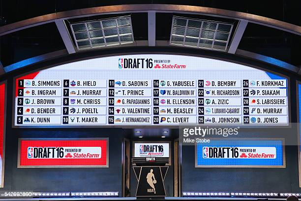 The full draft board of the first 30 pics of the first round of the 2016 NBA Draft is seen at the Barclays Center on June 23 2016 in the Brooklyn...