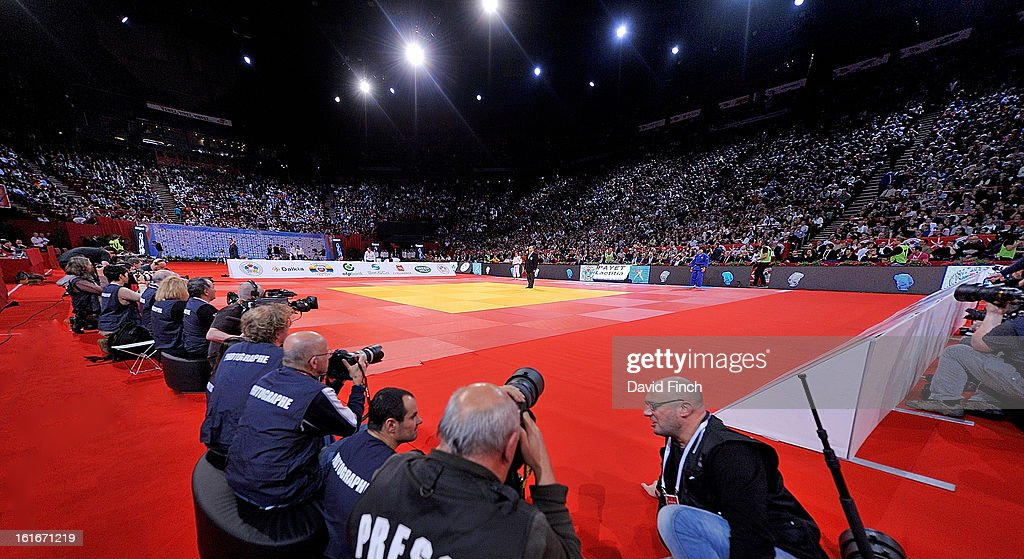 The full Palais Omnisport hall during the finals session when the five mats for the eliminations were reduced to a single mat for the gold medal contests during the Paris Grand Slam on day 1, Saturday, February 09, 2013 at the Palais Omnisports de Paris, Bercy, Paris, France.