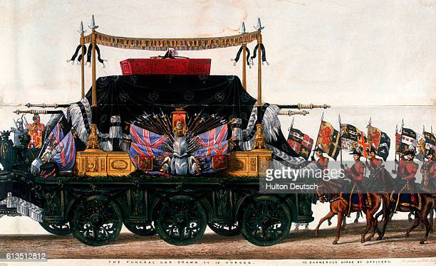 The funeral car of the Duke of Wellington drawn by 12 horses followed by 10 officers carrying bannerols in the procession through London