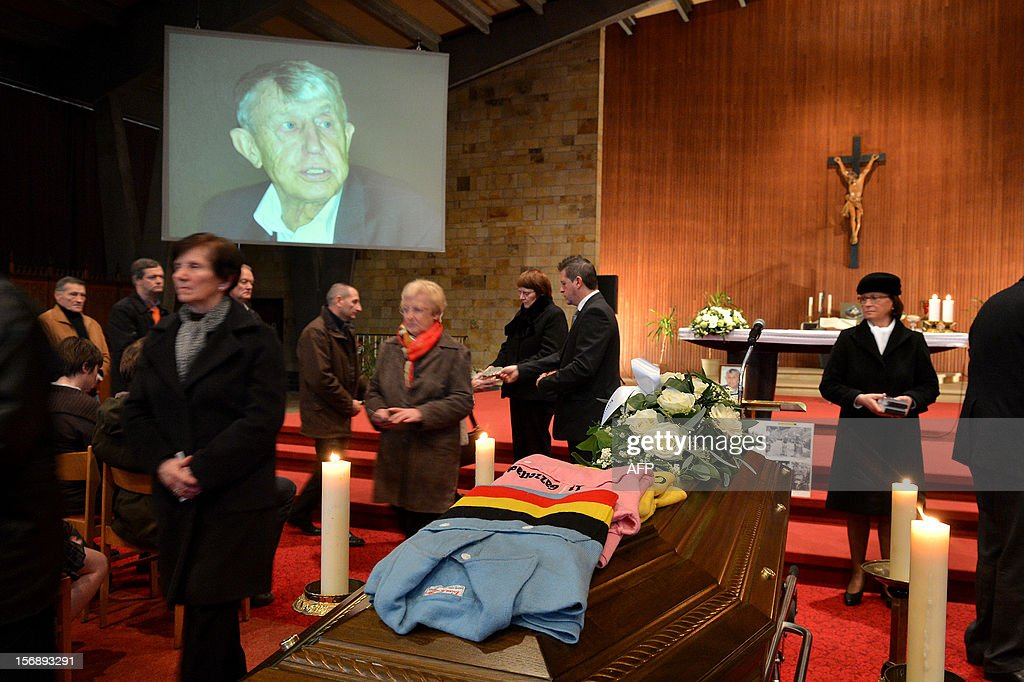 The funeral ceremony takes place for former cyclist Armand 'Mantie' Desmet, on November 24,2012, in the Sint-Margaretha church in Nieuwenhove, Waregem. 81 years old Desmet was the first winner of the E3 Prijs Vlaanderen and 'Rund um den Henninger-Turm'. He died on 17 November 2012. STOCKMAN