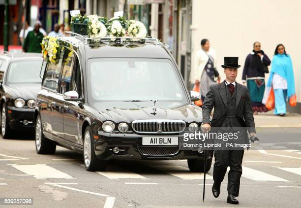 The funeral cortege for Lance Sergeant Dale McCallum of 1st Battalion Scots Guards arrives at the New Testament Church of God in Willesden north...
