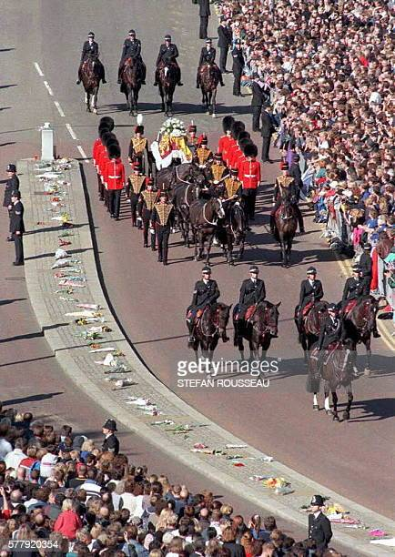The funeral cortege of Diana Princess of Wales makes its way down Carriage Drive Hyde Park 06 September as it travels to Westminster Abbey for her...