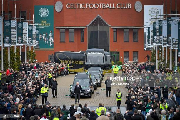 The funeral cortege of former Glasgow Celtic and Lisbon Lion footballer Tommy Gemmell who died last Thursday aged 73 leaves Celtic Park on March 10...