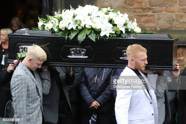The funeral cortege of Manchester attack victim Alison Howe leaves St Anne's Church on June 23 2017 in Oldham England Alison Howe from Royton was...