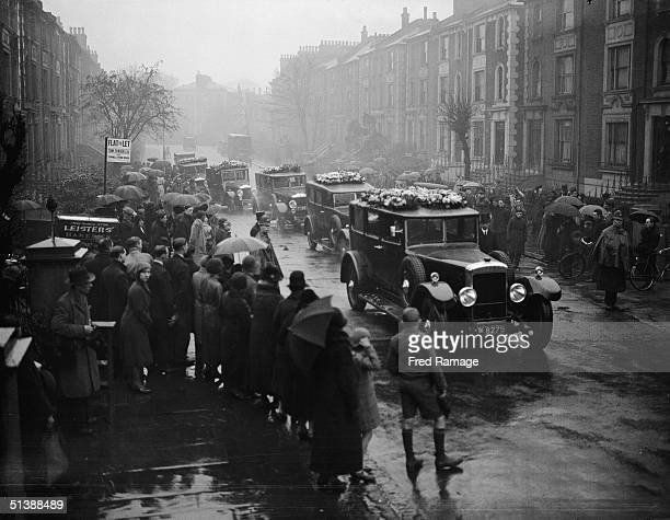 The funeral cortege of murder victim Walter Spatchett leaves his home in Camden Town London for Kentish Town Cemetery 11th January 1933